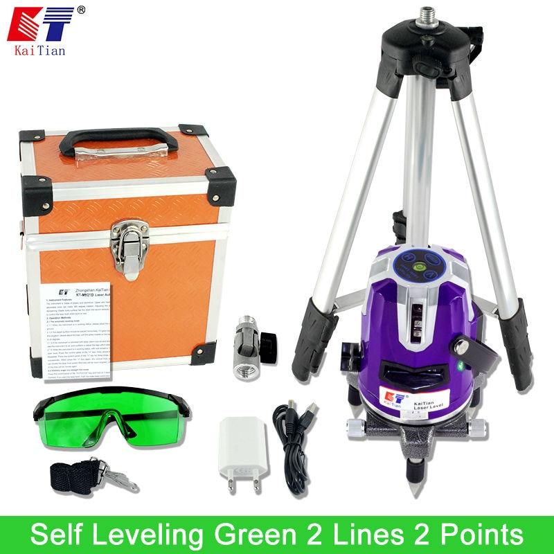 Kaitian Green light Laser Level 2 Lines 532nm Cross 360 Rotary Level Leveling with Slash Function and Tripod EU Plug Lazer Level