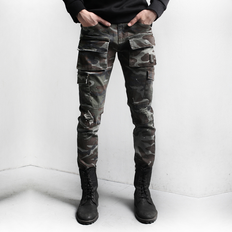 2017 Personalized Camouflage trousers fashion pants male casual frock boot cut jean L-XX ...