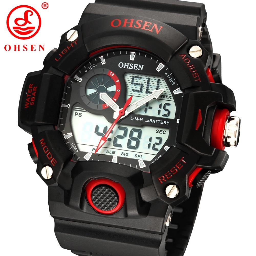 New OHSEN Mens Multifunction Sport Watch 2 Time Zone Digital Fashion Analog Quartz Black Rubber Wristwatch