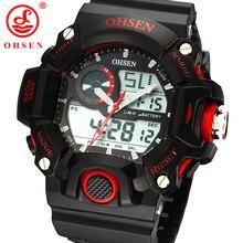 Nueva moda ohsen mens multifunción deportivo reloj de 2 zona de tiempo digital de cuarzo analógico reloj de pulsera de goma negro led relojes militares