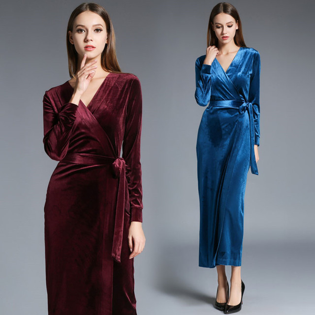 2017 Autumn Winter Dresses Blue Red Velvet Dress For Women Vintage Sexy Evening Party Dresses With Sashes Mid Calf Vestidos