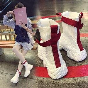 Image 4 - SWYIVY 2019 ฤดูใบไม้ร่วงผู้หญิงแพลตฟอร์มรองเท้าผ้าใบถุงเท้ารองเท้าสีขาวหญิงใหม่ Hip Hop สีดำรองเท้ารองเท้าผ้าใบ Ulzzang
