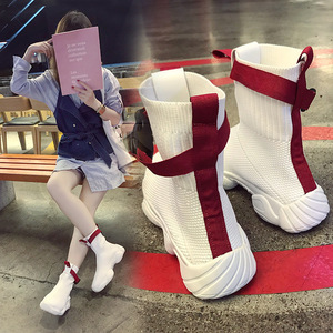 Image 4 - Swyivy 2019 ホット秋の女性のプラットフォームスニーカー靴下靴の白人女性新ヒップホップ黒のトップスニーカーオル