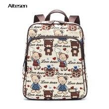 Мода холст сумка для ноутбука мультфильм винтажный стиль mochila couro высокое качество 2016 горячие продажа mochila ноутбук рюкзак конструктор