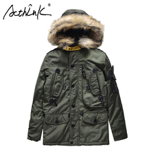 ActhInK New High Quality Boys Winter Cotton Padded Long Coat Army Style Parkas Children Thermal Warm For