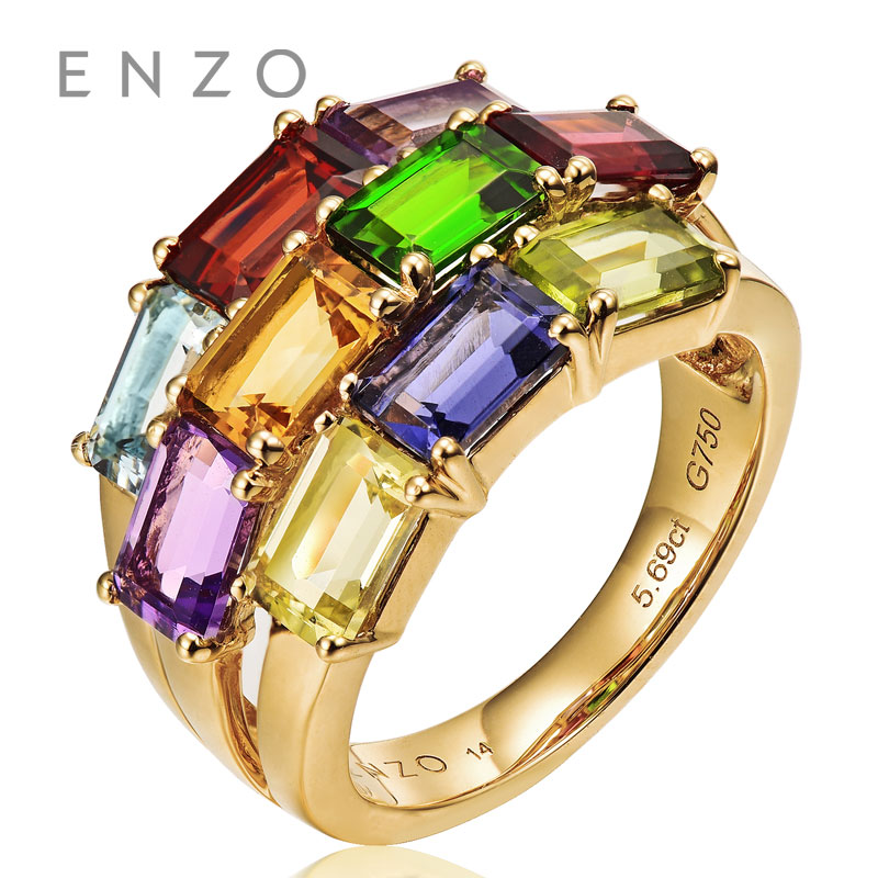 ENZO Rainbow 18K Gold Irregular Shape Ring Natural Colourful Crystal Ring With Generous Design Wonderful Jewelry totally 5.6CT