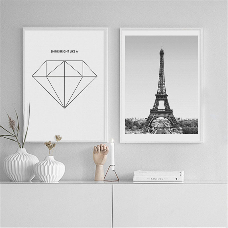 HAOCHU Nordic Canvas Print Decoration Painting Creative Geometric Tower Heart Wall Art Picture Poster Living Room Bedroom Hotel