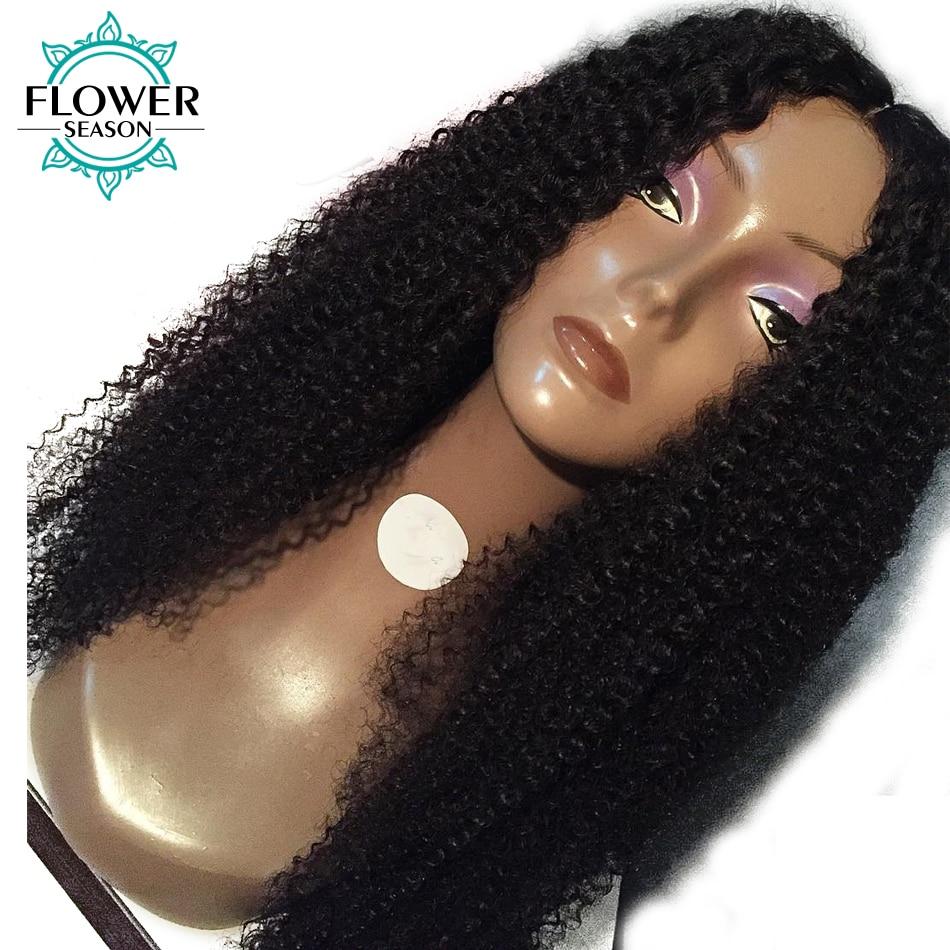 FlowerSeason 13x6 Despedida Profunda Afro Kinky Curly Parte Dianteira Do Laço Perucas de Cabelo Humano Com Cabelo Do Bebê Remy Brasileiro Pré arrancadas 130% Densidade