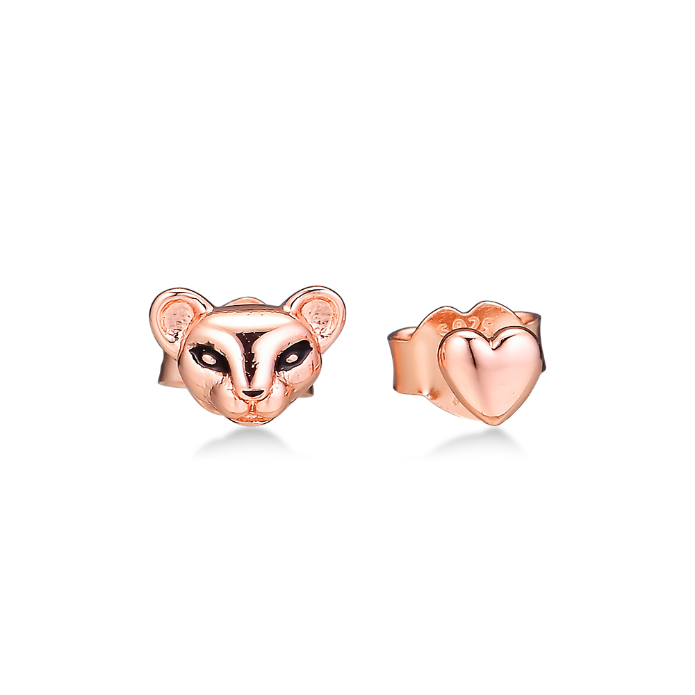 Rose Lion Princess & Heart Stud Earring 100% 925 Silver Jewelry Free Shipping