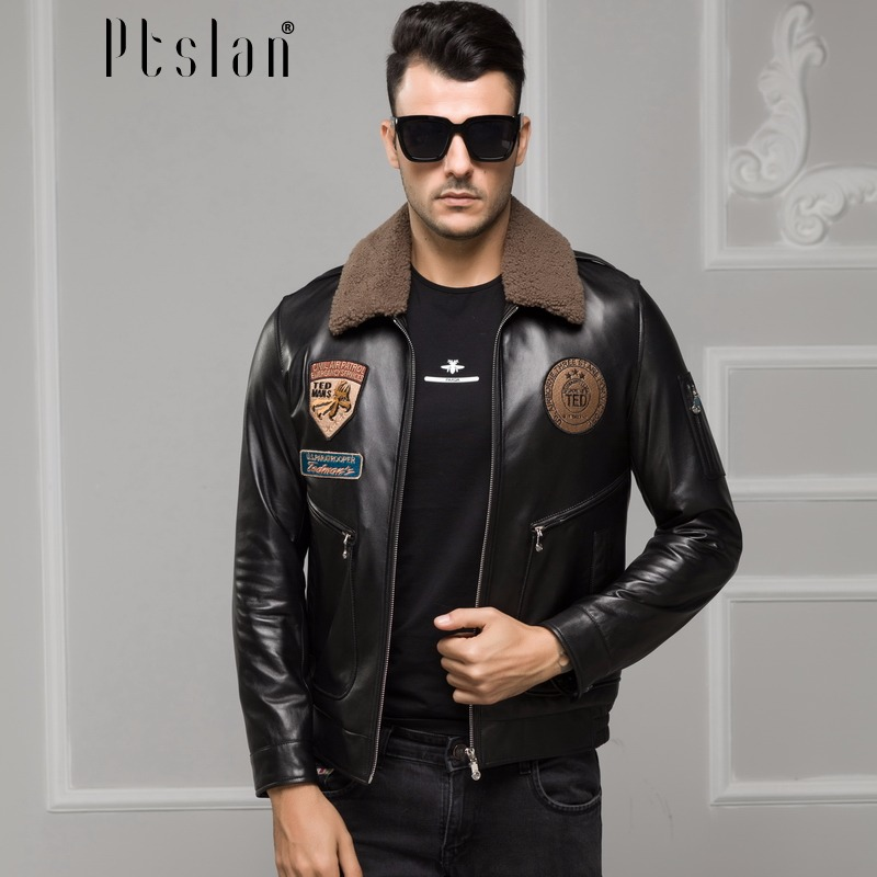 Ptslan 2016 font b Men s b font font b Genuine b font font b Leather