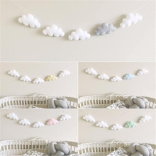 5PC/Set Simple Cloud Garland Ornament Kid's Bedroom Hanging Wall Or Bedside Nursery Christmas Birthday Crib Mobile Baby Bed Bell