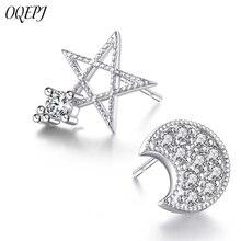 OQEPJ Fashion Shiny Rhinestone Moon Star Earrings 925 Sterling Silver Wedding Jewelry For Women Korean Asymmetrical
