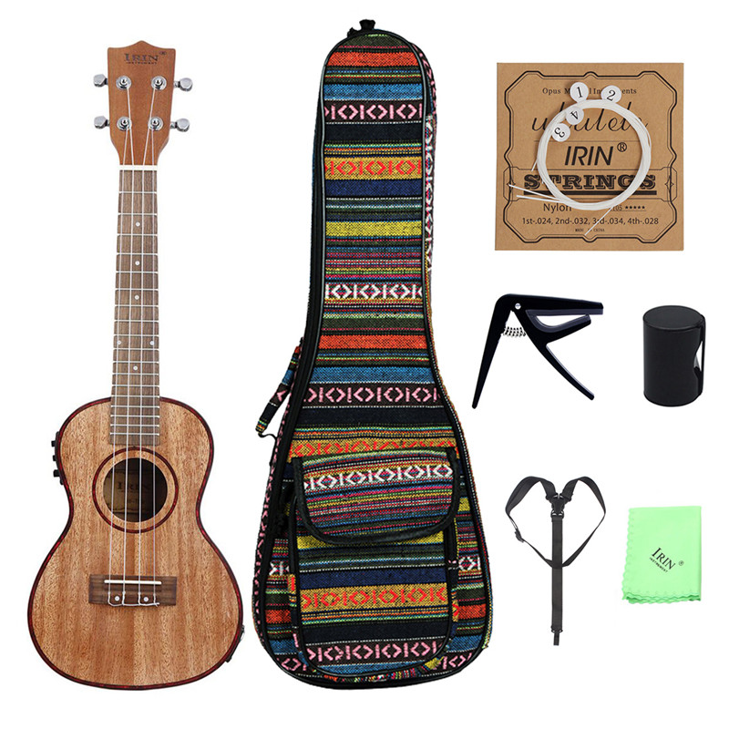 24 EQ Acoustic Concert Soprano Tenor Ukulele (Ukulele +Euclidean National Wind Bag+String+ Sand Hammer+Capo+Strap) Mini Guitar kmise soprano ukulele mahogany ukelele uke 21 inch with gig bag tuner strap string capo sand shaker cleaning cloth beginner kit