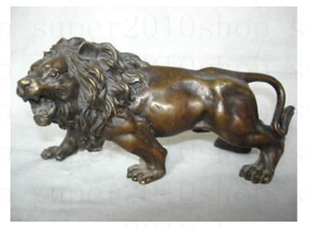 Sculpture&Carving Bronze Coffee Fierce Lions Wild Animals Figure Statue