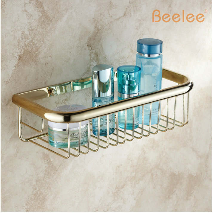 Beelee BA9410G Wall mounted Golden bathroom basket Bathroom accessories brass shower caddy shower basket shelf storage basket bathroom accessory wall mounted 2 tier triangular shower caddy shelf bathroom corner rack storage basket hanger wba076