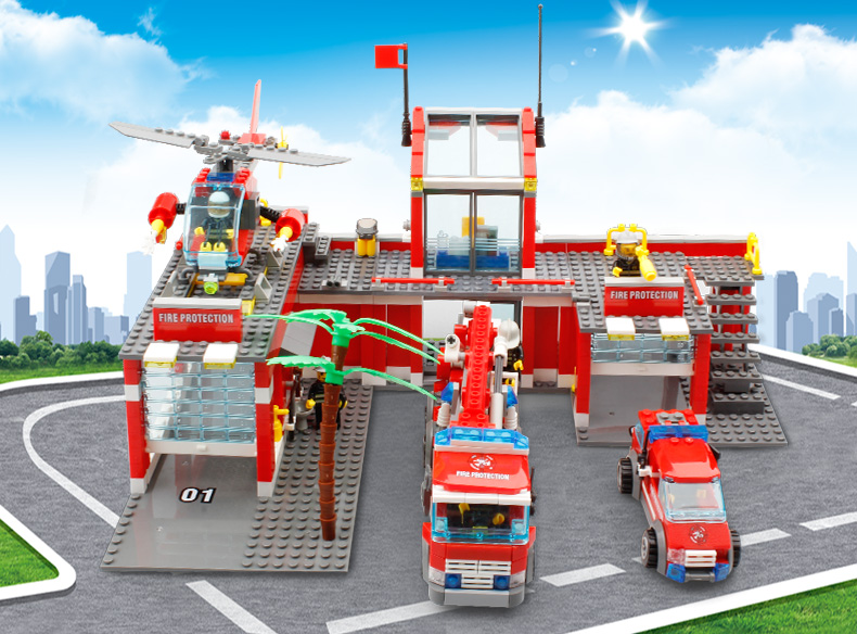 New City Fire Station 774pcs sets Building Blocks DIY Educational Bricks Kids Toys compatible with legoings Best Kids Xmas Gift new classic kazi 8051 city fire station 774pcs set building blocks educational bricks kids toys gifts city brinquedos xmas toy