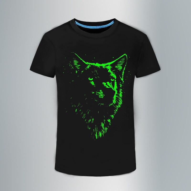RL Novelty 3D Luminous T-Shirt para hombre lobo de algodón estampado - Ropa de hombre