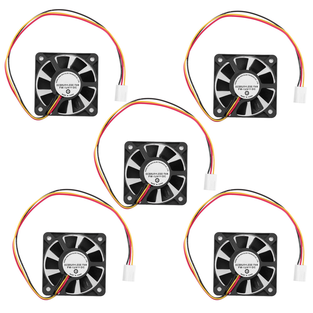 5pcs/Lot 3 Pin CPU 5cm Cooler Cooling Fan Heatsinks Radiator 50 x 50 x 10mm for PC Computer 12V new and original kde1205pfv3 12v 0 8w 5010 5cm ultra quiet cooling fan for sunon 50 50 10mm