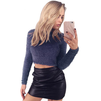 Warm Hairy Turtleneck Knitted Sweater Women Autumn Winter Plush Short Sweater Short Tops Pullover Basic Long