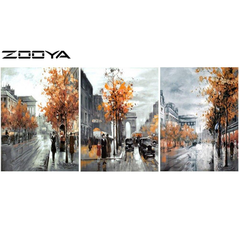 ZOOYA bricolage complet diamant broderie peinture point de croix mur autocollant triptyque peintures Portrait ville paysage personnages RF858