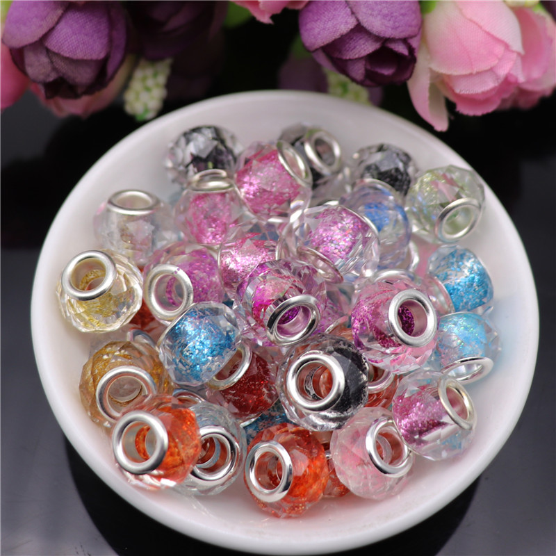 10 Pcs Glitter Powder Cut Faceted Silver Big Hole Crystal Spacer Glass Beads Charms fit for Pandora Bracelet Necklace Jewelry in Beads from Jewelry Accessories