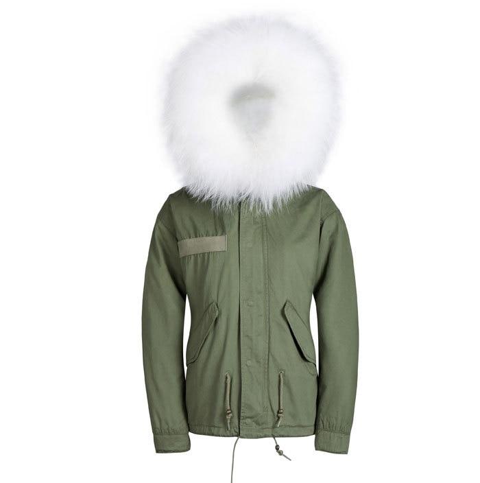 Blanc De Mode Col Veste Doublé 2015 Hommes Armée Style Conception Capuche Fourrure Vert Manteaux Courte À 4HnFqnW