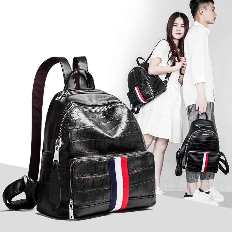 цена на new fashion couple backpack schoolbag High Quality Leather Backpacks for Teenage School Backpack New Designed