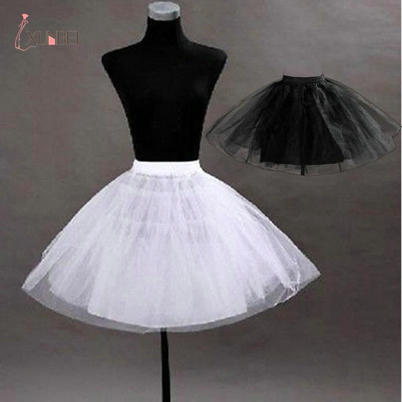 2017 White Black Red No Hoop Short Petticoat Crinoline For Girls Tutu Skirt A Line Ball Gown Underskirt Jupon Robe De Mariee