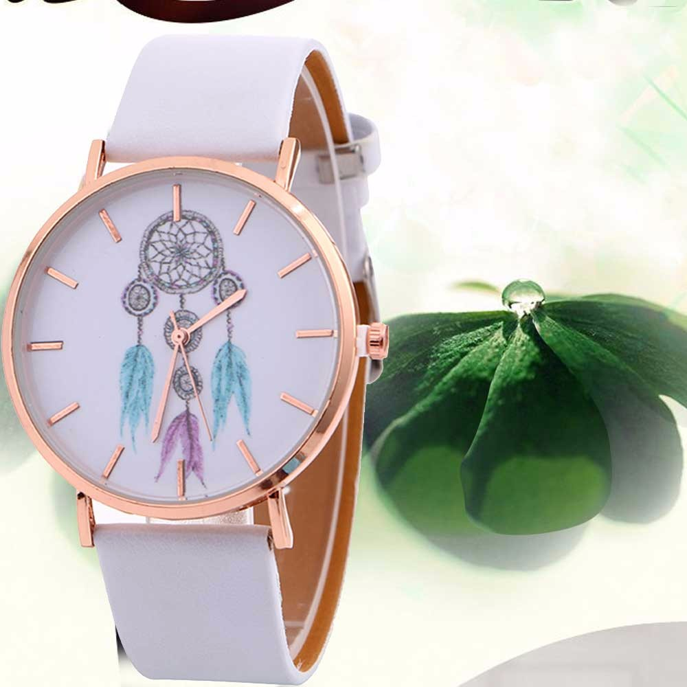 Drop ship Lady Dress Watches Women Wind Chimes Pattern Quartz Wrist Watch Female Leather Band Belt Table Watch Dial Alarm Clock quartz watch with small diamond dots indicate leather watch band hearts pattern dial for women