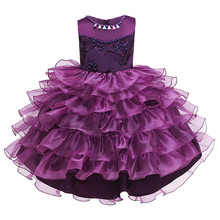 2019 summer new sleeveless children's dress dress six one performance girl European and American princess tailed puff evening dr
