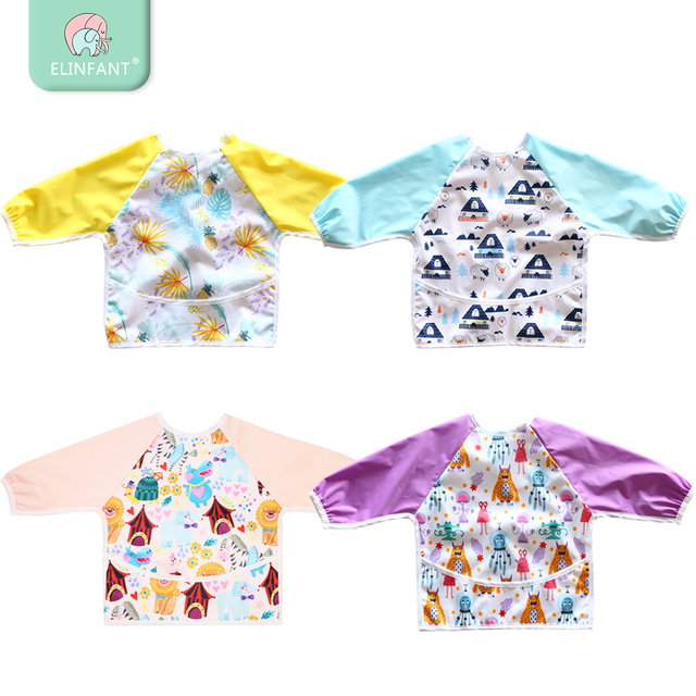 Elinfant Long Sleeved Bib Waterproof Bibs for Babies and Toddlers with  Pocket light weight bib washable one size feeding bibds 810c130b48c7
