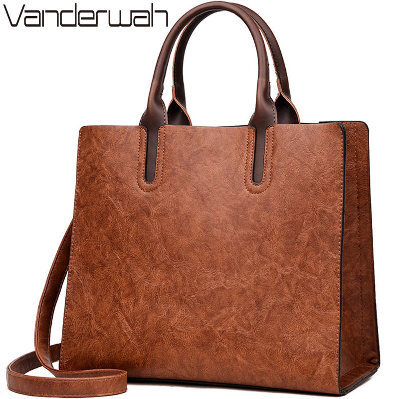 NEW Vintage OIL SKIN Leather Big Casual Tote women bags High Quality Women's Handbags Shoulder Crossbody Bag Messenger Bags sac seven skin brand women oil wax leather shoulder bags vintage designer handbags female big tote bag women s messenger bags 2017