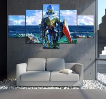 Framed 5 Panel Abstract Canvas Sea Knight Templar Cuadros Landscape Painting Wall Art Home Decor For Living Room Poster