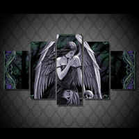 5 Panel Large HD Printed Oil Painting Angel Girl Skull Canvas Print Art Home Decor Idea