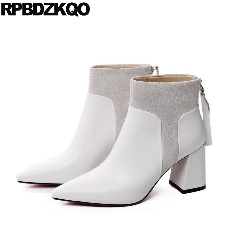 Genuine Leather High Quality Ankle Luxury Brand Shoes Women Short British White Boots Zipper 2017 Pointed Toe Heel Chunky Winter серверная материнская плата intel dbs1200spsr ret [dbs1200spsr 951870]