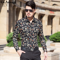 2015 New Long Sleeve Floral Printing Men Shirts High Quality Egyptian Cotton Long Sleeve Korean Men