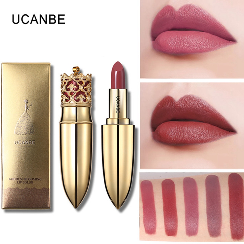 UCANBE Brand Crown Velvet Matte Lipstick Makeup Golden 5 Color Nude Long Lasting Pigment Lips Stick Natural Cosmetic Lip Rouge hold live 6 color vevet matte lip stick for nude red lips lipstick korean brand kit pink diamonds lipstick 24 hours long lasting