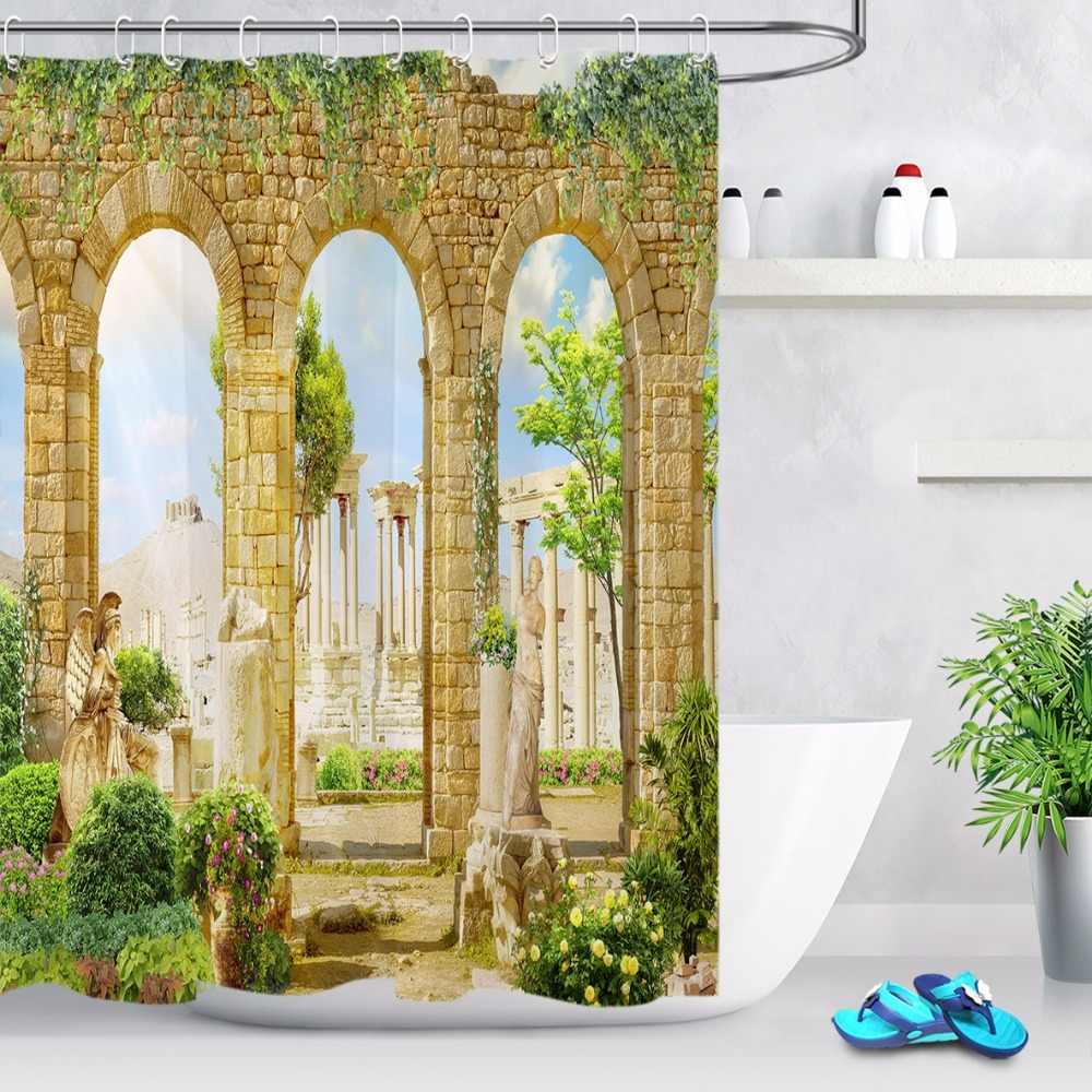اليونان أعمدة تمثال اللبلاب زهرة دش الستار المشهد الحمام للماء قابل للغسل البوليستر النسيج للفن حوض ديكور