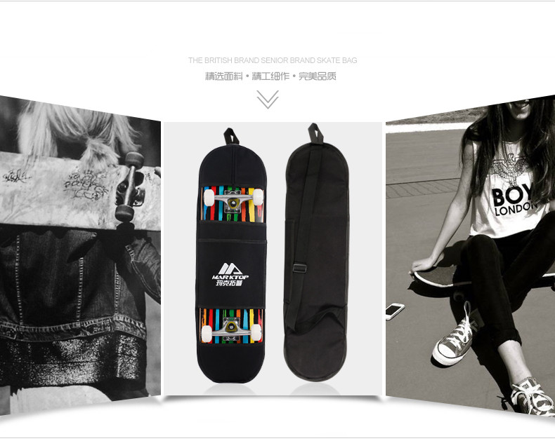 "Купить с кэшбэком New Black Skateboard Carrying Bag 4 Wheels Skateboard Bag 31""x8"" Skateboard Double Rocker Backpack"