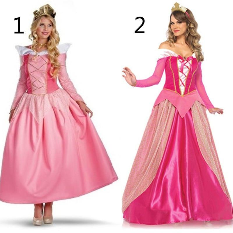Adult Pink Princess Costume Sexy Sleeping Beauty Costume Aurora Dress Women Cosplay Dress Princess Aurora Bellet Costume