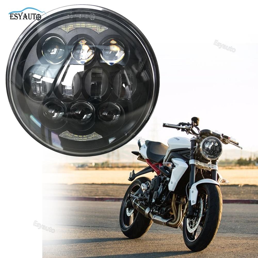 1PCS New design 80W Chips 5-3/4Headlamp 5.75 Round LED Projection Daymaker Headlight for Harley Davidson Motorcycles Black автоинструменты new design autocom cdp 2014 2 3in1 led ds150