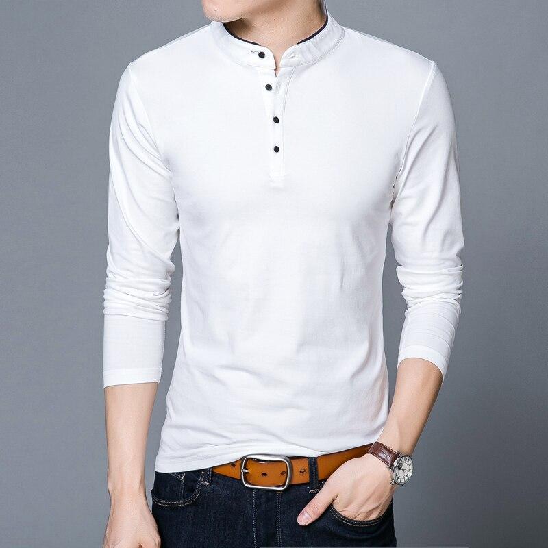 POLO   shirt Men 2018 Spring Autumn New 100% Cotton Men Solid Color Mandarin Collar Long Sleeve Top Tees