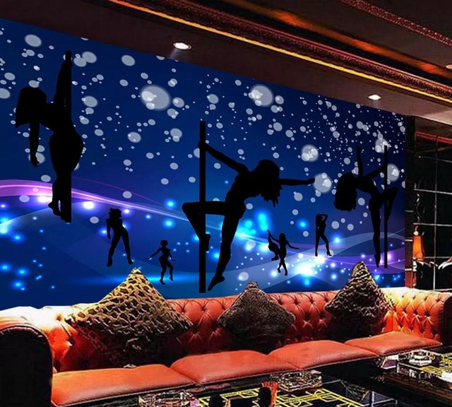 background karaoke bar night club ktv custom mural shipping colorful wall tooling painting zoom decorative mouse