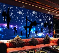 Free Shipping Custom Wallpaper Mural Cute Blue Colorful Karaoke Bar KTV Night Club Tooling Background Wall Decorative Painting