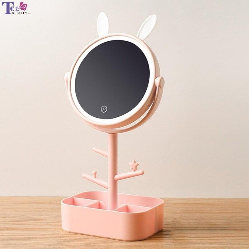 Schminkspiegel Spiegel Make-up Spiegel Led Mit Licht Desktop Rotierenden Spiegel Lupe 4 Mal Lagerung Damen Make-up Lampe Abs Mit Lagerung Box