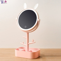 Makeup Mirror LED With Light Desktop Rotating Mirror Magnifying Glass 4 Times Storage Ladies Makeup Lamp ABS With Storage Box