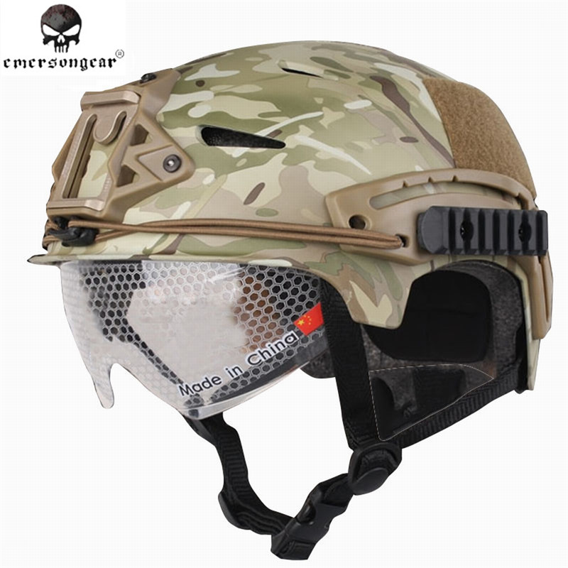 EMERSON EXF BUMP Helmet with Protective Goggles Tactical Military Airsoft Helmet ABS Plastic Constructed Maritime Helmet high quality outdoor airframe style helmet airsoft paintball protective abs lightweight with nvg mount tactical military helmet