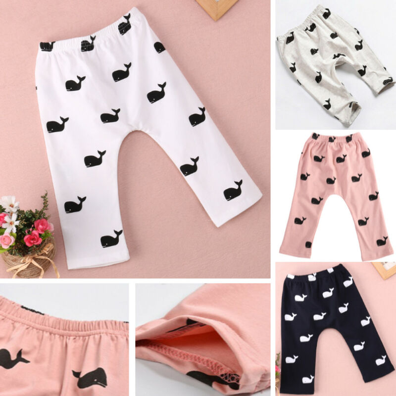 Infant Toddler Baby Kids Girl Boy Cute Whale Printed Cotton Soft Long Pants Legging Plus Size S-2XL Children Clothing