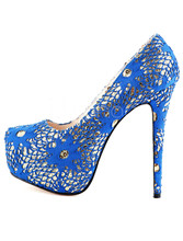 Beautiful fashion  blue knitted cloth 16 cm high-heeled shoes. Size :35-43