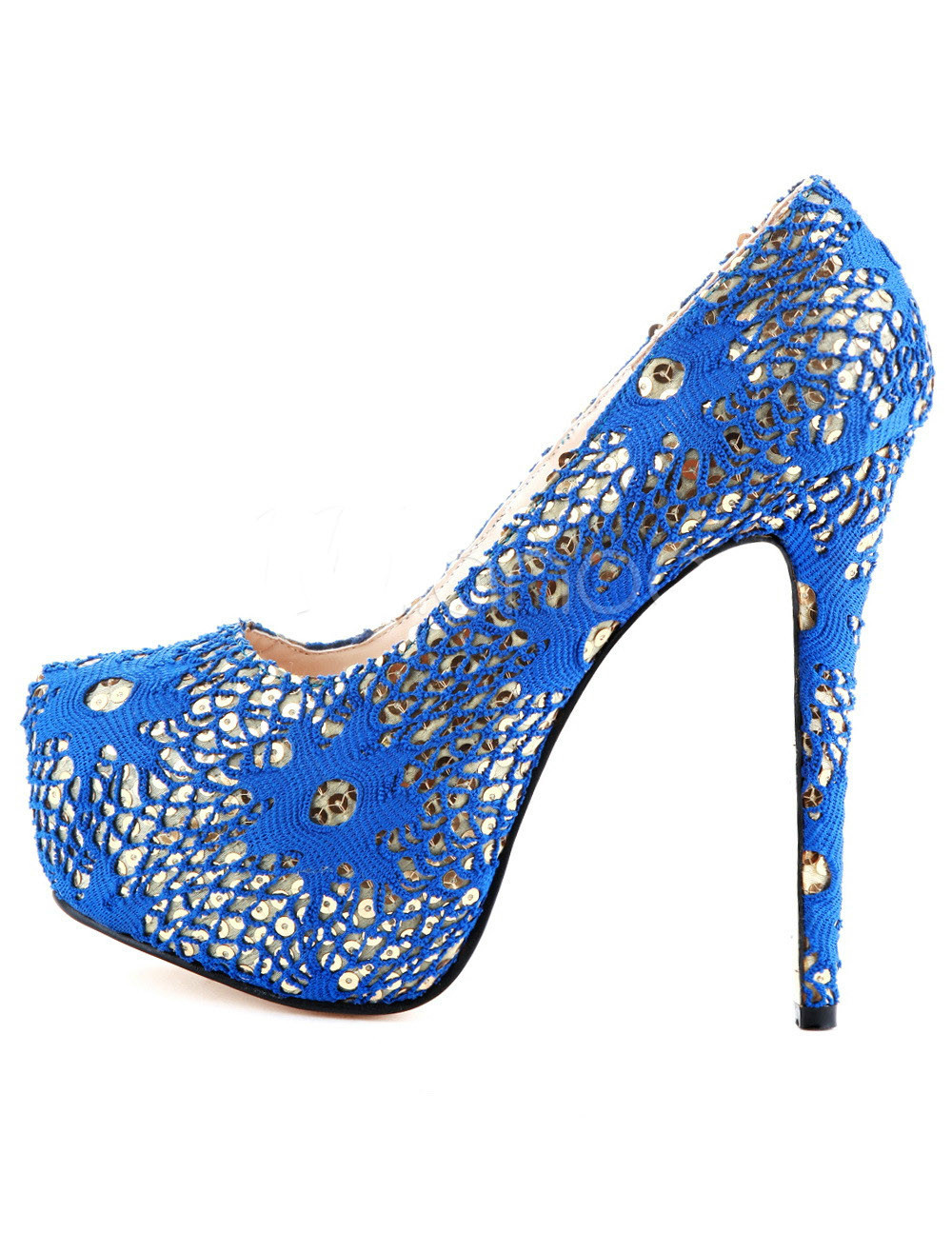 Beautiful fashion  blue knitted cloth 16 cm high-heeled shoes. Size 35-43